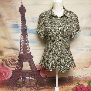 ➕ Rene margo animal print crinkle blouse
